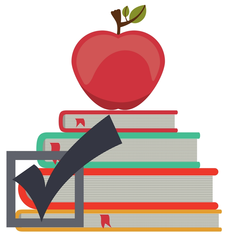 Levy logo - Graphics of apple sitting on pile of books.